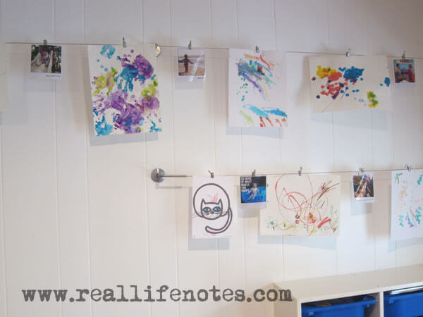 Kids Art Display With Clothespins