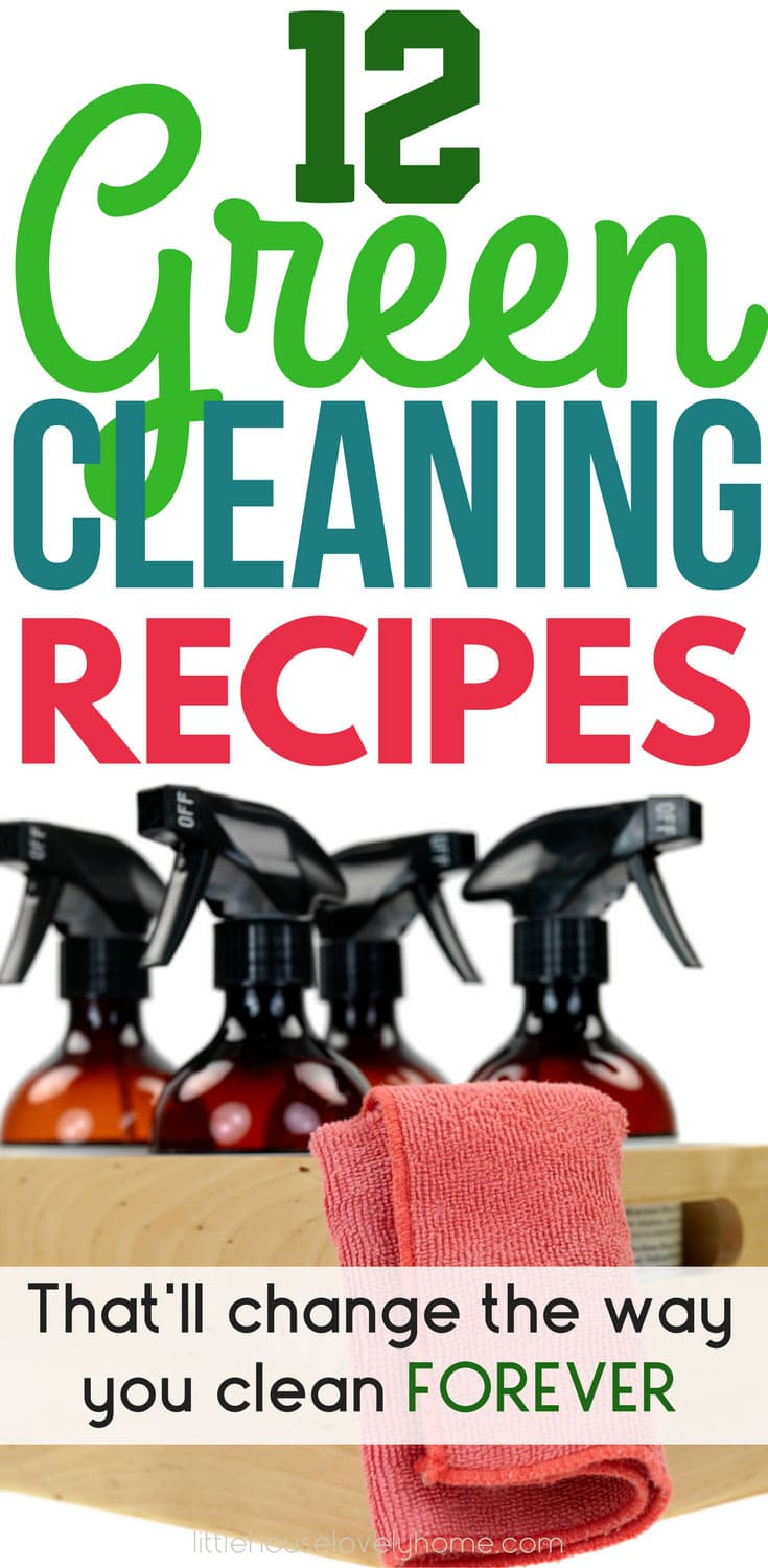 Green Cleaning Recipes - if you're looking to reduce the chemicals in your home but still have a great cleaning experience, you'll definitely want to check this post out. These green cleaners can be made at home, using low-cost ingredients and best of all, they won't harm your family.
