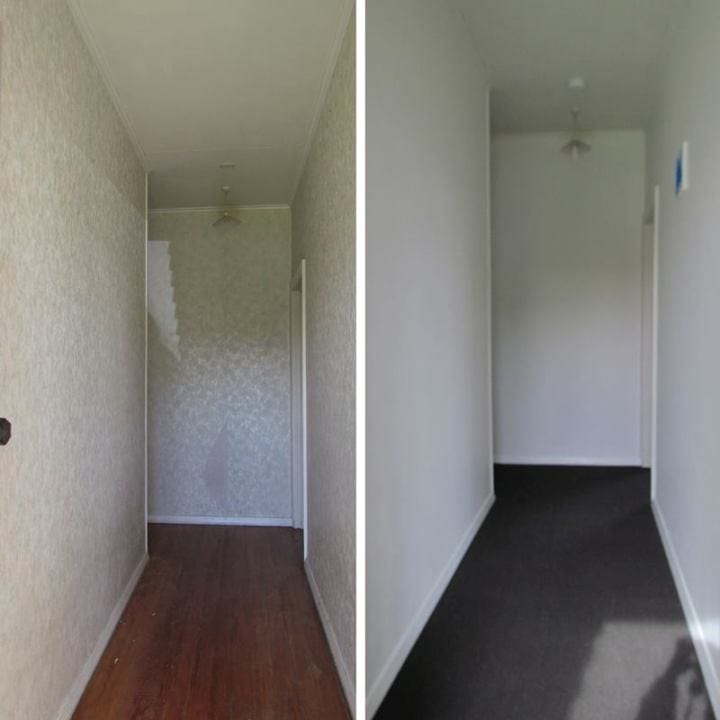 A before and after shot of our hallway.