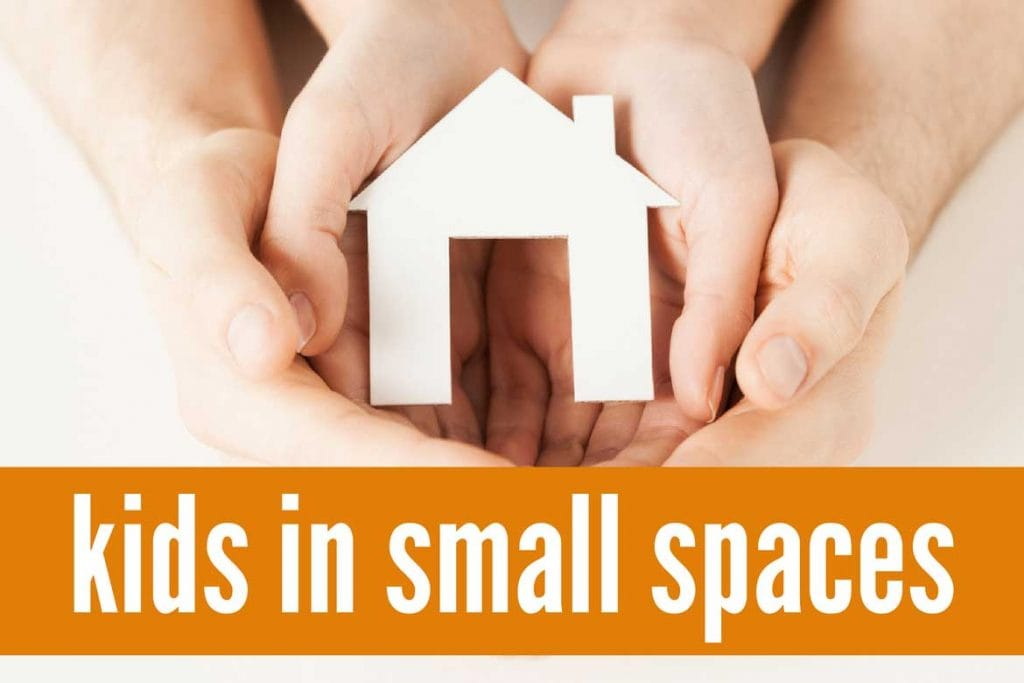 Solutions and ideas for living in a small space with kids including toy storage, small bedroom ideas and more.