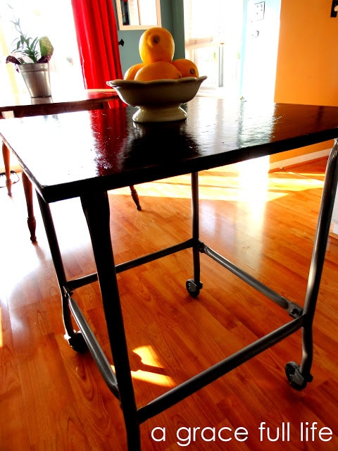 Goodwill rolling cart as a kitchen island