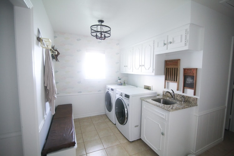 White cabinets in a laundry room