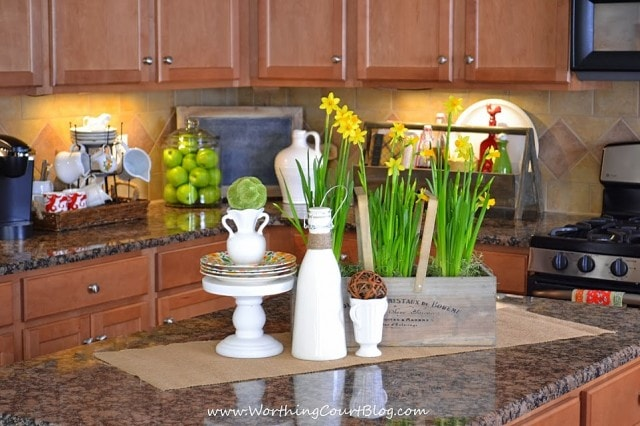 Spring decor on a granite kitchen island counter top