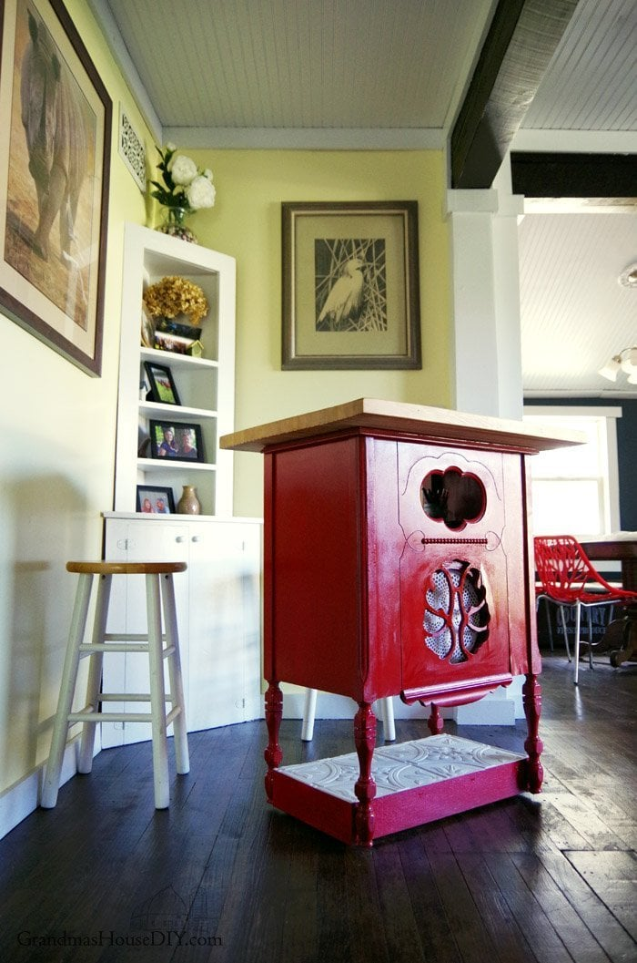 a radio stand converted into a kitchen island