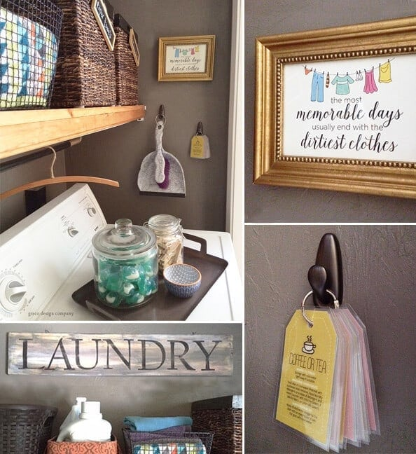 A collage of inspirational laundry room decor