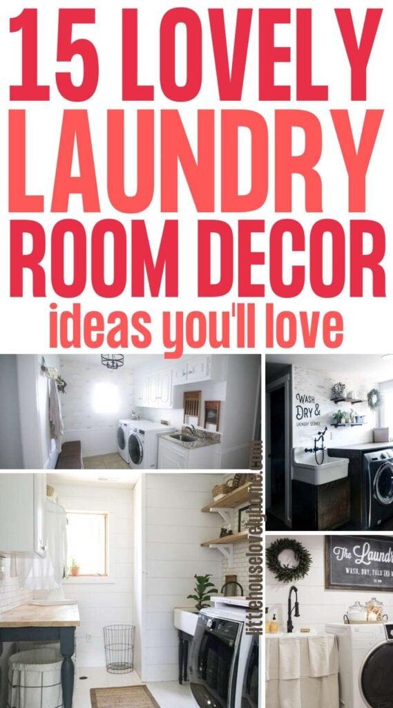 Laundry room decor ideas pin image