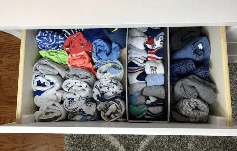 Roll clothes to keep drawers organized