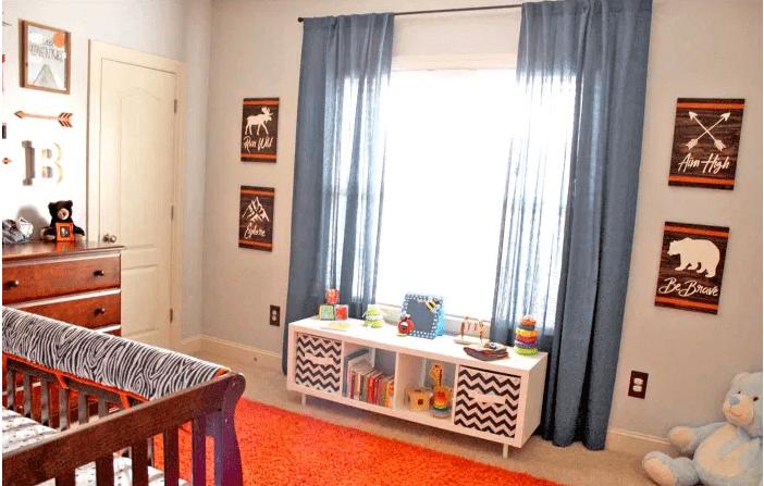 An orange and blue nursery