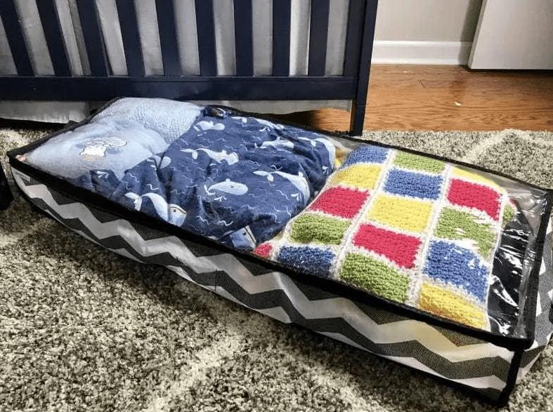 Under the crib storage