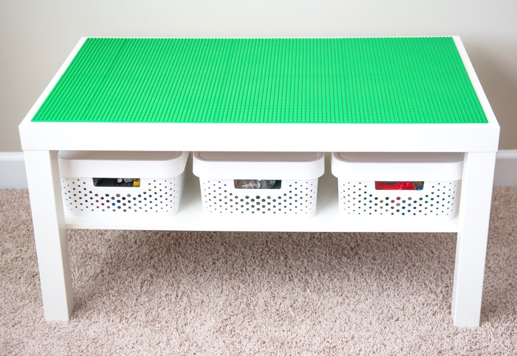 a white table built to store LEGOS
