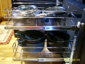 A slide out rack for pots and pans