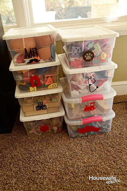 Toy Storage Boxes with labels