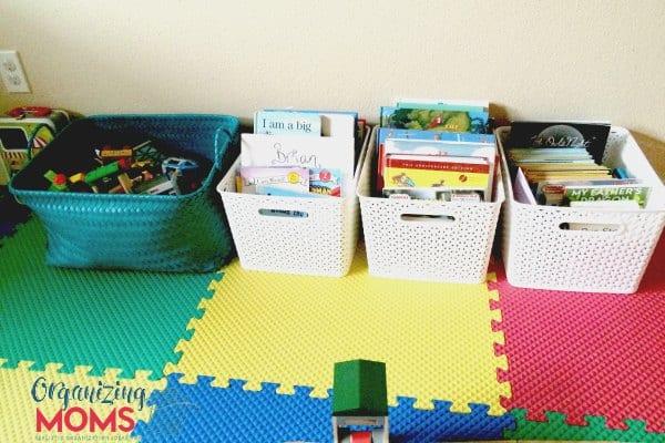 Storing children's books in baskets