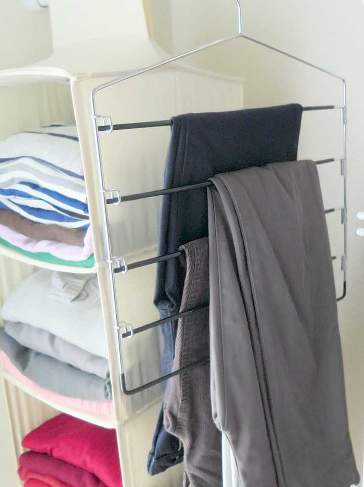 Hang up pants in the closet