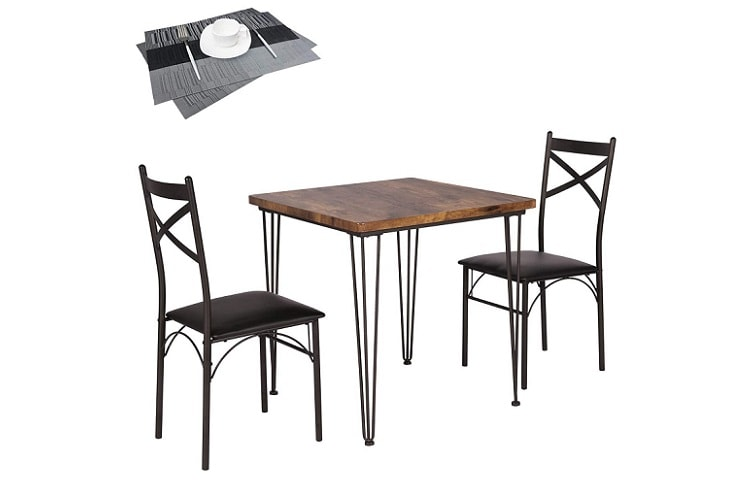 VECELO Dining Set Industrial Style 3 Pieces Kitchen Wood Table Review
