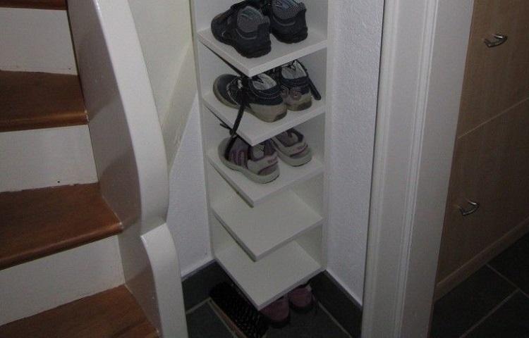 shoe shelve in corner