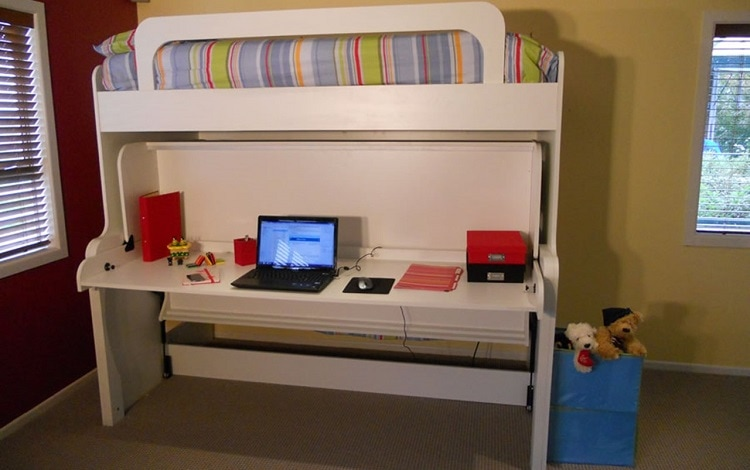 small apartment with hidden desk bed