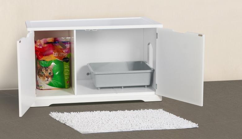 White Litter Box Cabinet